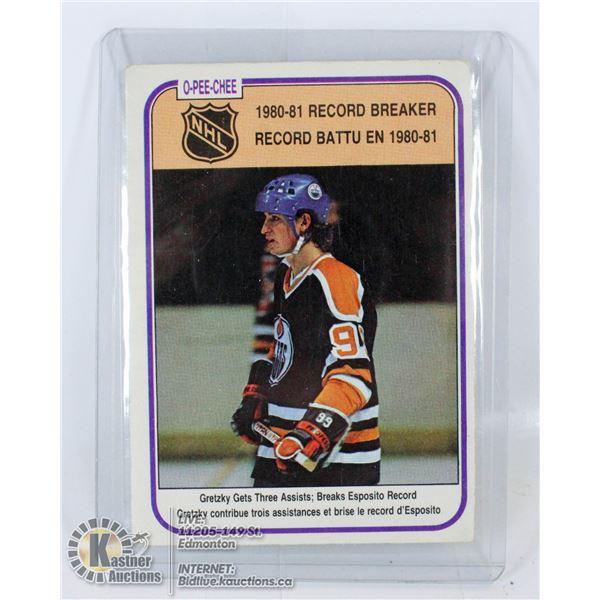 1981 OPC GRETZKY RECORD BREAKER CARD