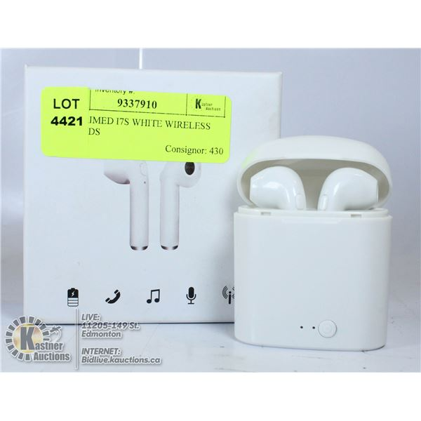 UNCLAIMED I7S WHITE WIRELESS EARBUDS