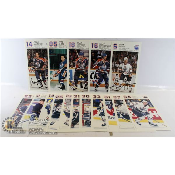 17 POSTCARD STYLE OILER CARDS 6 ARE AUTOGRAPHED