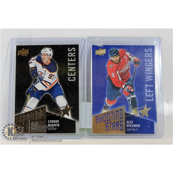 2 SHOOTING STAR INSERTS ( MCDAVID AND OVECHKIN )