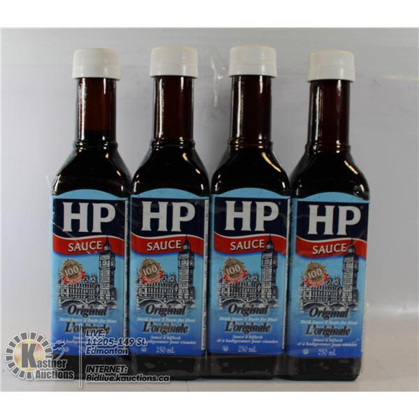 LOT OF 4 BOTTLES HP SAUCE ORIGNAL 250 ML