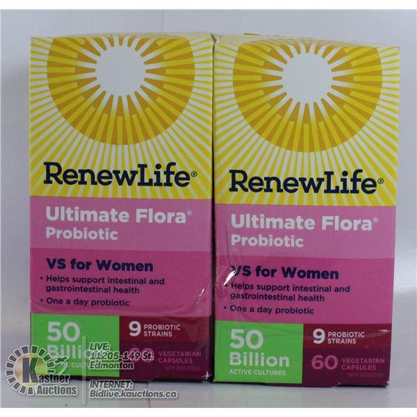 LOT OF 2 RENEWLIFE FLORE PROBIOTIC VS FOR WOMAN