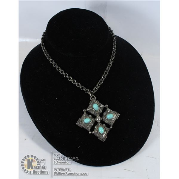 PEWTER AND TURQUOISE NECKLACE