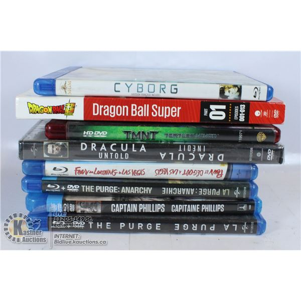 LOT OF DVDS AND BLURAY MOVIES