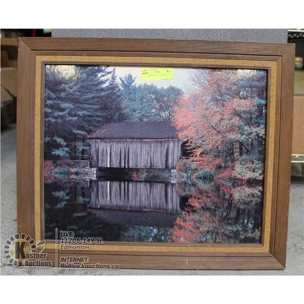 FRAMED PICTURE OF COVERED BRIDGE