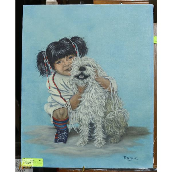 OIL ON CANVAS PICTURE OF CHILD AND A DOG