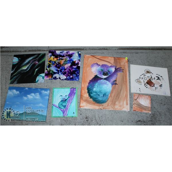 7 PCS OF VARIOUS ART, INCLUDES SCENARY, ABSTRACT &
