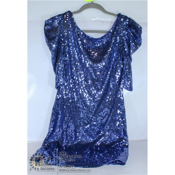 LADIES BLUE STRETCH SEQUENCE-STYLE DRESS -