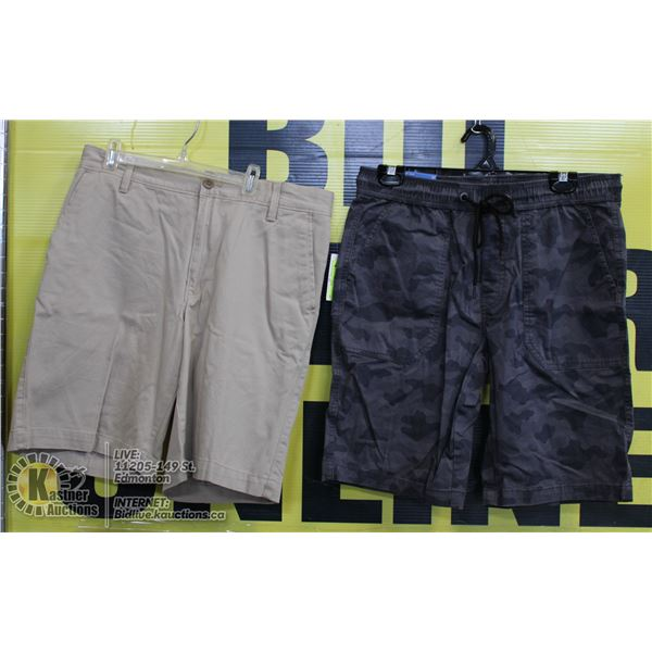 2 PAIRS OF SIZE 32 SHORTS GREY AND BEIGE