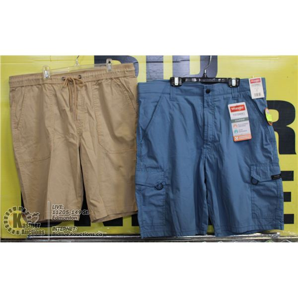 2 PAIRS OF SIZE 36 SHORTS BEIGE AND BLUE