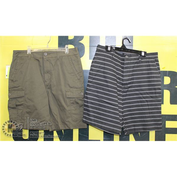 2 PAIRS OF SIZE 30 SHORTS GREY AND GREEN