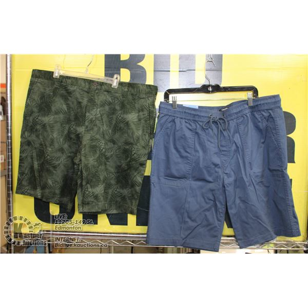 2 PAIRS OF SIZE 38 SHORTS BLUE AND GREEN