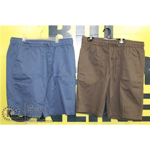 2 PAIRS OF SHORTS SIZE 34 BROWN AND BLUE