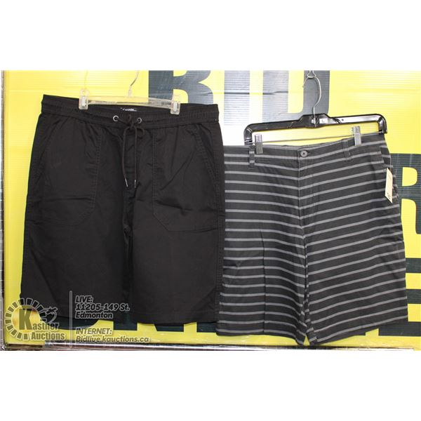 2 PAIRS OF SHORTS SIZE 34 GREY AND BLACK