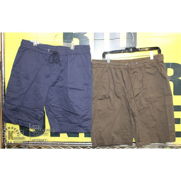 2 PAIRS OF SHORTS SIZE 34 BLUE AND BROWN
