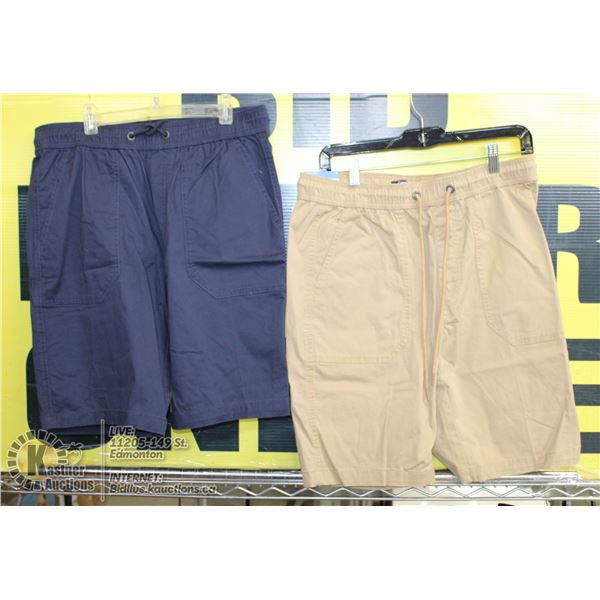 2 PAIRS OF SHORTS SIZE 32 BEIGE AND BLUE