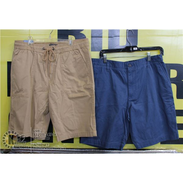 2 PAIRS OF SHORTS SIZE 34 BEIGE AND BLUE