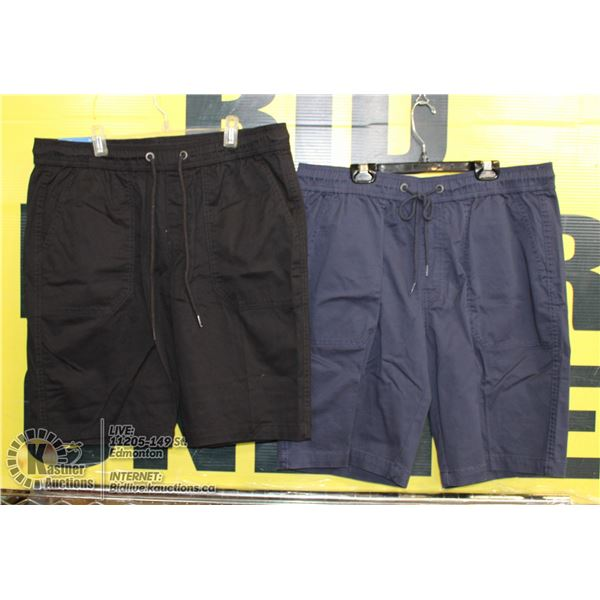 2 PAIRS OF SHORTS SIZE 34 BLUE AND BLACK