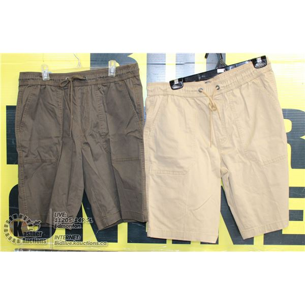 2 PAIRS OF SHORTS SIZE 32 BROWN AND BEIGE