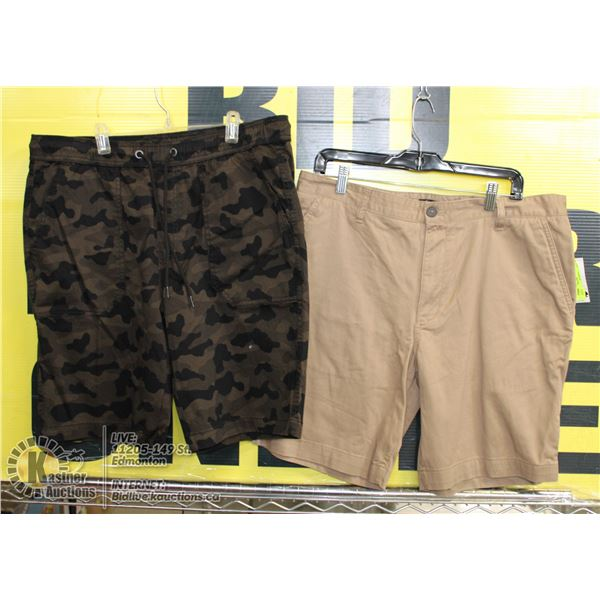 2 PAIRS OF SHORTS SIZE 36 BEIGE AND BROWN