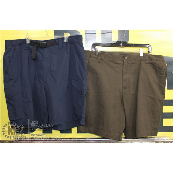 2 PAIRS OF SHORTS SIZE 38 BROWN AND BLUE