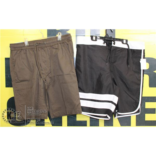 2 PAIRS OF SHORTS SIZE32 BROWN AND BLACK/WHITE