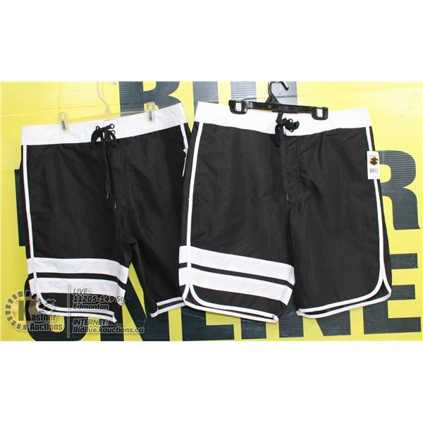 2 PAIRS OF SHORTS SIZE 32 BLACK AND WHITE