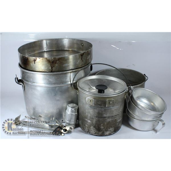 CAMPING COOKWARE/SERVING SET THAT FITS INTO LARGE