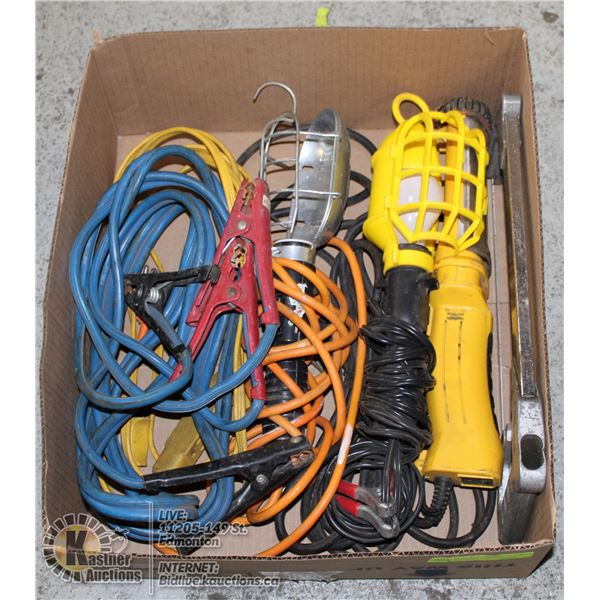 ESTATE TOOL LOT INCLUDES BOOSTER CABLE, TROUBLE LI