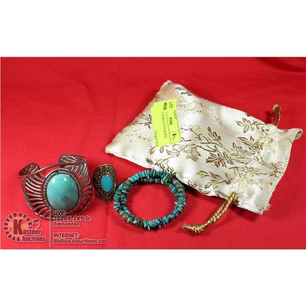 TURQOUISE BRACELETS & RING