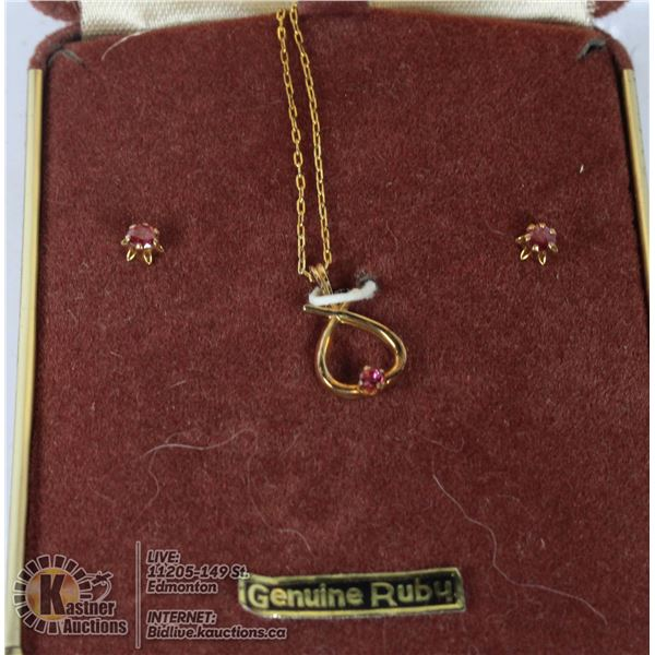 RUBY NECKLACE SET - IN BOX