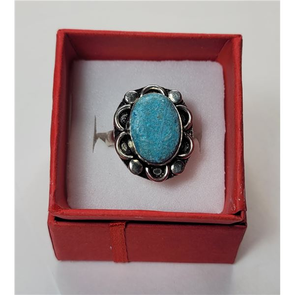 26)  SILVER TONE AND OVAL LARIMAR RING