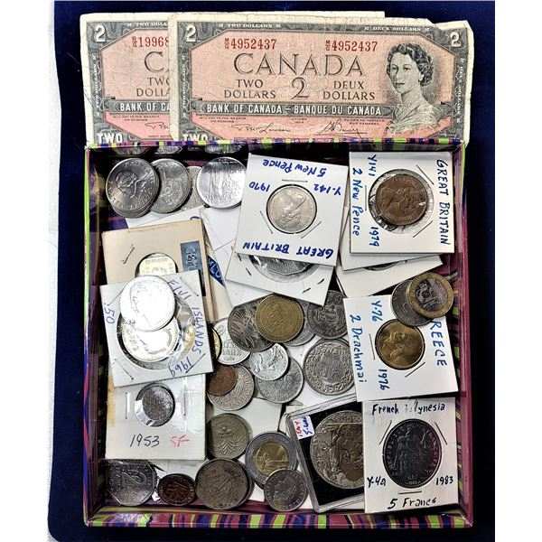 1)  LOT OF 2 CANADIAN $2.00 BANK NOTES AND