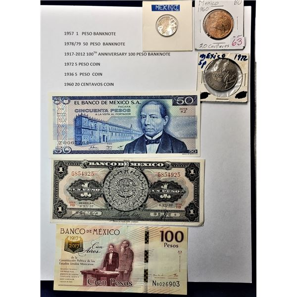 10)  LOT OF PAPER AND COIN MEXICAN MONEY