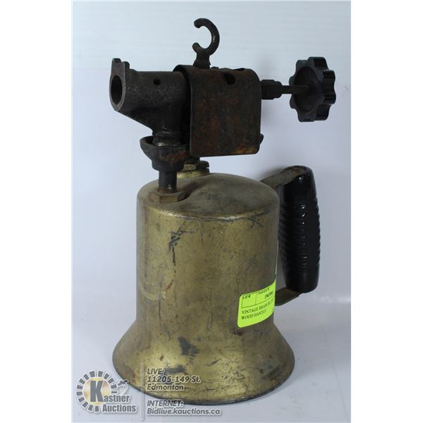 VINTAGE BRASS BLOW TORCH WITH PLASTIC HANDLE