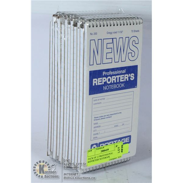PACK OF 12 PROFESSIONAL REPORTERS NOTEBOOK