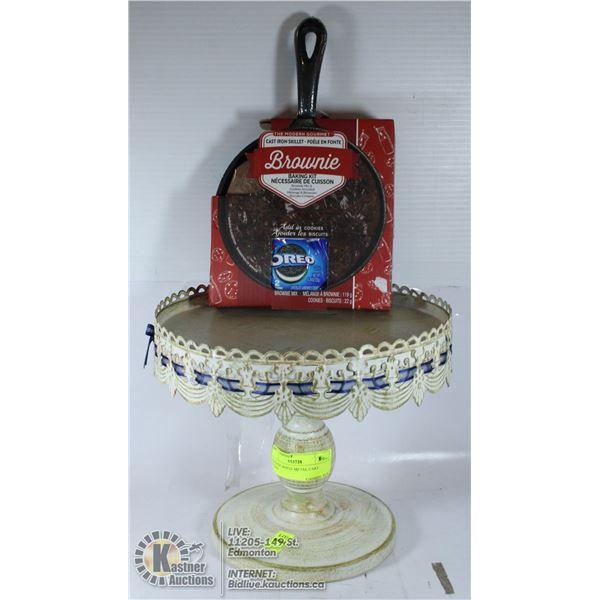 VINTAGE WHITE METAL CAKE STAND AND PAN CAKE