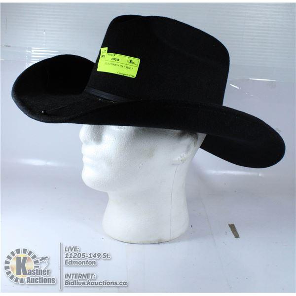 BLACK FELT COWBOY HAT SIZE 7 1/2