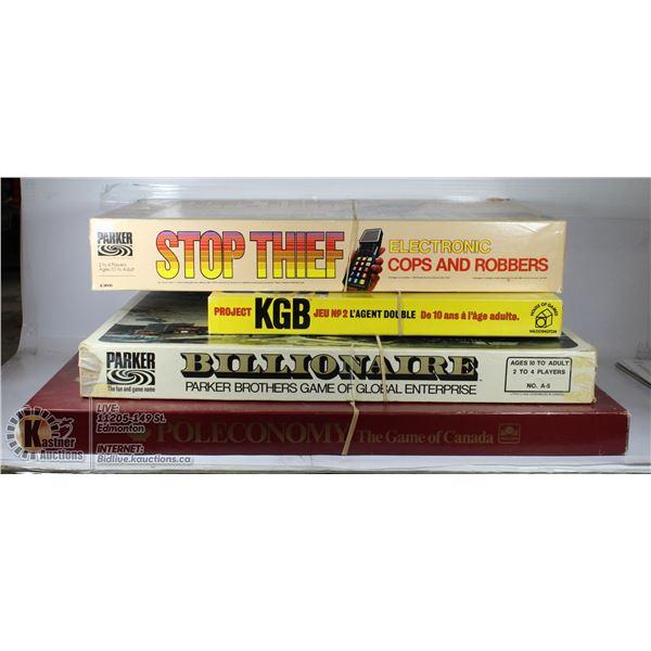 4 VINTAGE GAMES KGB, BILLIONARE, STOP THEIF,
