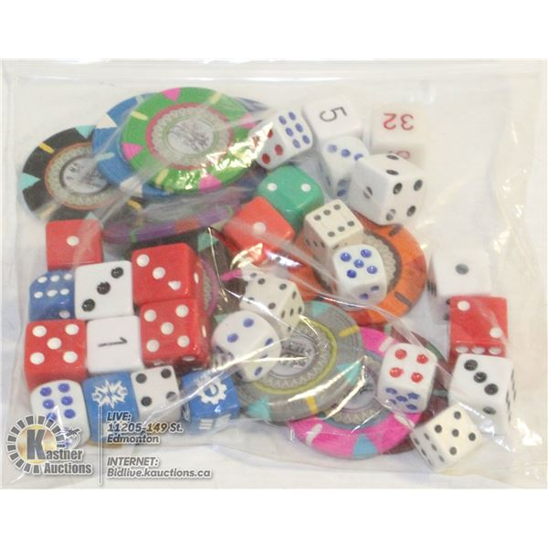 BAG OF DICE AND POKER CHIP SAMPLER (ONE OF EACH)-
