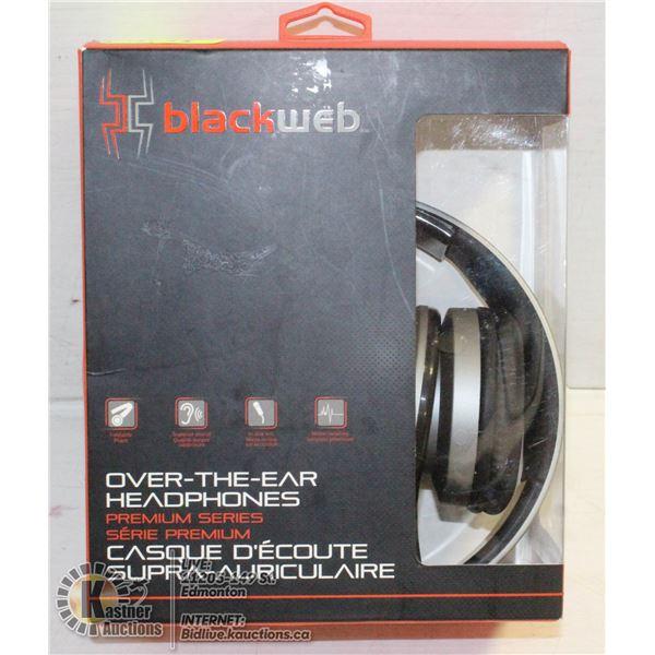 BLACK WEB OVER THE EAR HEADPHONES BOX OPENED, USED