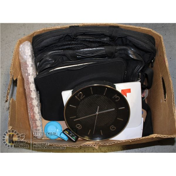 BOX OF OFFICE/SCHOOL SUPPLIES AND DECOR INCL.