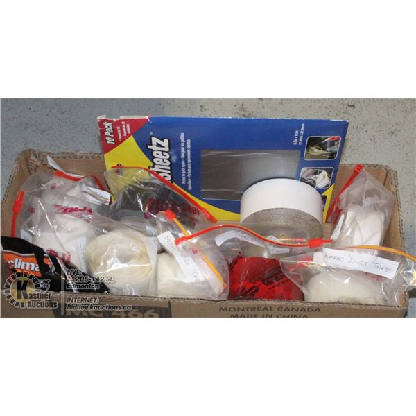 BOX WITH OVER 15 ROLLS OF VARIOUS TYPES OF