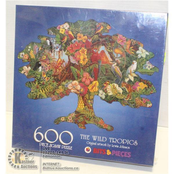 NEW 600PC WILD TROPICS TREE SHAPED PUZZLE