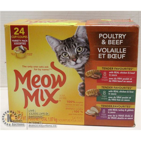MEOW MIX CAT SOFT FOOD CHICKEN AND BEEF 24 PACK