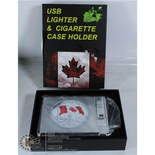 USB LIGHTER & CIGARETTE CASE HOLDER