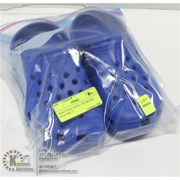 CROC STYLE SHOES- OFF BRAND BLUE SIZE 37