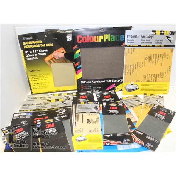 BOX WITH 20 PACKS OF SANDPAPER - MOSTLY
