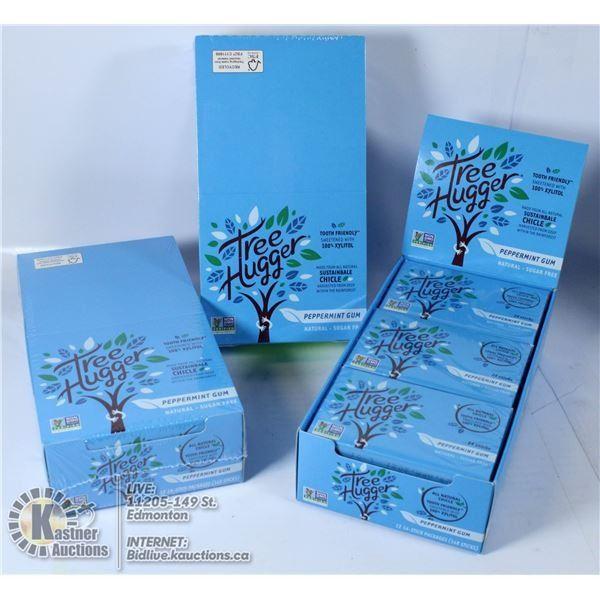 3 BOXES OF TREE HUGGER PEPPERMINT GUM - 36 PACKS