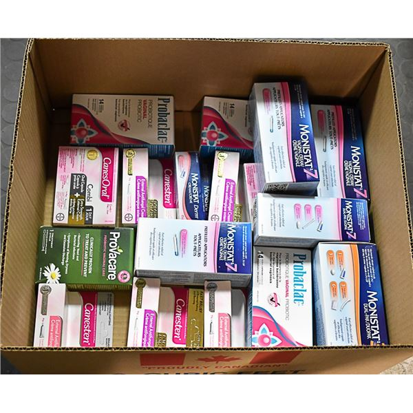 FLAT LOT OF OF FEMININE CARE PRODUCTS